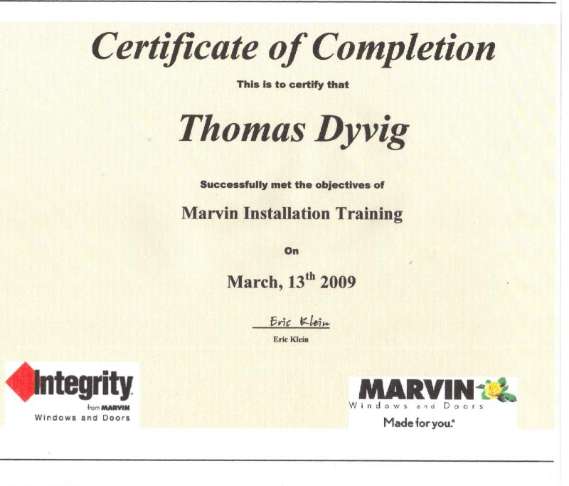 TRAINED AND EXPERIENCED WITH MARVIN WINDOW AND DOOR INSTALLATIONS